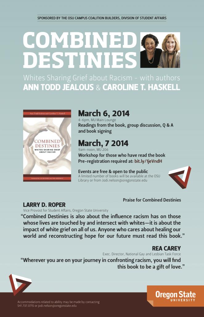 Flyer for event at Oregon State University. Click for PDF flyer.